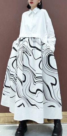 DIY White Print Clothes Lapel Patchwork Maxi Spring Dresses Chic Fashionista, White Linen Dresses, Spring Fashion, Autumn Fashion, Spring Dresses, Casual Dresses For Women, Coats For Women, Fashion Dresses, Autumn Casual