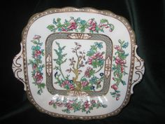 COALPORT INDIAN TREE MULTICOLOR A.D.1750 GREEN STAMP HANDLED CAKE PLATE ebay 17
