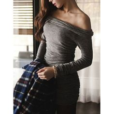 Sexy Slash Neck Solid Color Ruched Shirred Long Sleeves Women's Packet Buttock Dress
