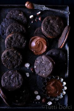 Malted Chocolate Sandwich Cookies from @tuttidolci