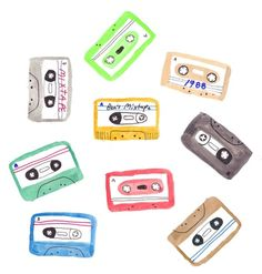 Mixtapes, Illustration by Benjamin Grossblatt. Printable Stickers, Cute Stickers, Pattern Illustration, Digital Illustration, Illustrations, Aesthetic Stickers, Easy Drawings, Mixtape, Cute Art