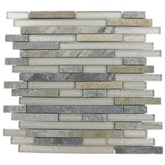 Splashback Tile Tectonic Harmony Green Quartz Slate And White 12 in. x 12 in. Glass Mosaic Floor and Wall Tile-GEO HARMONY GREEN QUARTZ SLAT...