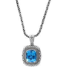 Balissima by Effy Blue Topaz (6-2/3 ct. t.w.) Pendant Necklace in... ($425) ❤ liked on Polyvore featuring jewelry, pendants, sterling silver, blue topaz pendant necklace, sterling silver charms pendants, effy jewelry, sterling silver jewellery and blue topaz jewelry