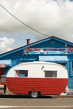 Vintage caravan parked at the Porangahau Dairy. North Island, New Zealand. - Vintage caravan parked at the Porangahau Dairy. North Island, New Zealand. Vintage Rv, Vintage Caravans, Vintage Travel Trailers, Vintage Vans, Retro Caravan, Retro Campers, Camper Trailers, Vintage Campers, Gypsy Caravan