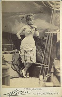 "Venie Clancy as Josephine in the E.E. Rice unauthorized production of ""H. M. S. Pinafore"" in New York.  Photo by Mora, circa 1878."