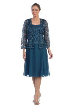 Knee Length Mother of the Bride Groom Long Sleeve Lace Jacket Formal Dress Party #ThedressoutleT #Formal