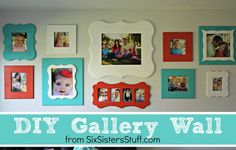DIY Gallery Wall- these frames come in a kit- all you have to do is pick the colors and hang them up!