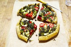 Broccoli-Tomato Galette. I can't eat basil without a strong wave of heartburn. I substituted sun-dried tomato pesto for the basil pesto. This recipe was perfect! I especially love the oil flavored by the garlic and tomato that pools in the tomato halves. I wish I could just bottle that!