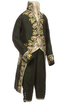 Habit à la française, habit, gilet et culotte, France, 1804-1815  Velours de soie façonné, broderie au point lancé