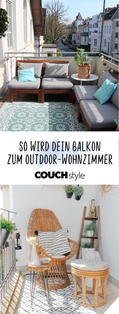 So wird dein Balkon zum Outdoor-Wohnzimmer: Wir zeigen dir, wie du deinen Balkon… So your balcony becomes an outdoor living room: We show you how to make your balcony fit for the summer and prepare it with beautiful balcony furniture,… Continue Reading → Balcony Furniture, Diy Outdoor Furniture, Furniture Decor, Outdoor Decor, Interior Garden, Home Interior Design, Outdoor Pictures, Outdoor Living Rooms, Balcony Plants
