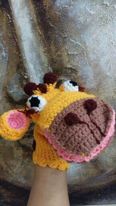 Crochet giraffe puppet