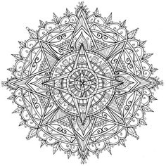 Trying something different - merging more geometric shapes with my usual organic flowery star mandala shapes. If you like my art, have a look at my crowdfunding campaign to publish a second adult colouring book. Doodles Zentangles, Zentangle Patterns, Mandala Pattern, Mandala Design, Mandala Art, Celtic Mandala, Pattern Coloring Pages, Adult Coloring Book Pages, Mandala Coloring Pages