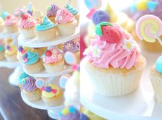Bright, colorful pastel cupcakes with strawberry, lollipop, flowers. Pink, purple, yellow, blue.