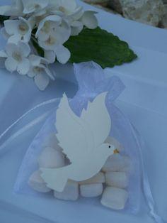 Bolsas de tul con paloma/ Recuerdo bautizo.