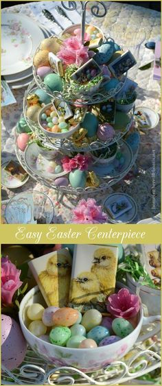 A three-tiered server/cupcake stand provides a quick & easy Easter centerpiece for the table or buffet! Fill teacups or bowls with paper shred or Easter grass and add candy eggs, chocolate bunnies and dyed or faux Easter Eggs.Tuck in a few blooms and you have an easy 5 Minute Centerpiece for your Easter table or buffet that provides dessert too! | Home is Where the Boat Is #Easter #table