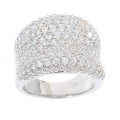 Diamonique Sterling Silver 3.25 ct Bold Pave Concave Ring Size 5 K894 #Diamonique #Band #qvcx