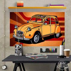 Vinilos Decorativos: Póster adhesivo Citroën 2CV #poster #citroen #2CV #caballos #coche #lámina #vinilo #TeleAdhesivo Adhesive, Vinyls, Horses, Fabrics, Illustrations
