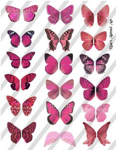 Digital Collage Sheet Pink Butterfly Fairy by lisasalteredart