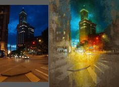 """Another side by side. My original reference photo of this Seattle landmark next to the finished painting """"Legend on Yesler"""" (20x16) in the upcoming Group Exhibition XIII @gallery1261 February 5th. An interesting thing you might notice is my choice to omit the photo's 3-point perspective in the architecture. The camera is a fantastic tool for creating a painting but don't forget you are the boss. Don't be a slave to your reference 👍  #knifepainting #oilpainting #fineart #contemporaryart…"""