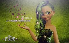 This is Rosa. She has the power to bloom stuff and wind and flowers and pollen. Has a pet horse that has a flower on it that if anyone that she doesn't want it sends a 5 feet radius shock.