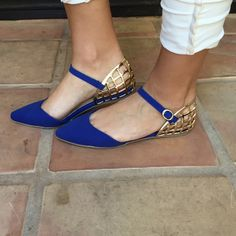 Royal Blue & Gold Mila Point Toe Flats #shoes