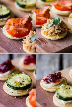 mini pancake bites with four different toppings (smoked salmon with tomato and cream cheese; canned tuna and sun-dried tomatoes; baked zucchini with cream cheese; beetroot relish with cream cheese)