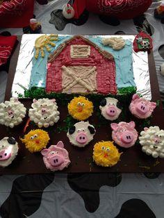 Barnyard Birthday Cake and Farm Animal Cupcakes
