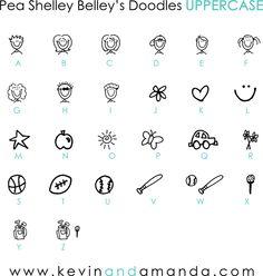 Pea Shelley Belley's Doodles uppercase Font