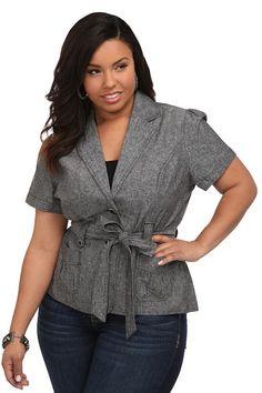 Short Sleeve Wrap Jacket - Plus Size