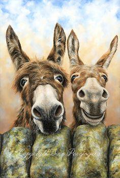 Hee Haw box canvas print by Dina Perejogina – Artworx Gallery Farm Paintings, African Art Paintings, Animal Paintings, Animal Drawings, Cute Donkey, Cute Cows, Donkey Drawing, Illustrations, Illustration Art