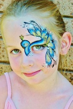 Peacock eye design face painting