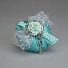 Rosario pietre con cuscino puffo in raso color verde tiffany e fiore in pvc