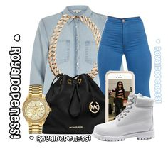 """We Be On It! Dej Loaf!"" by royaldopeness ❤ liked on Polyvore featuring River Island, Gogo Philip, MICHAEL Michael Kors, Squair, Timberland and Bulova"