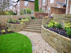 Steps and Stone Wall - Traditional Garden 1920s House, Garden Design, Sidewalk, Gardens, Patio, Traditional, Stone, Outdoor Decor, Wall