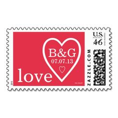 Personalized, Cute, Modern, Love Heart Red White Wedding or Save the Date Postage Stamp with bride and groom first name initials and wedding date by Elke Clarke© at www.zazzle.com/monogramgallery*
