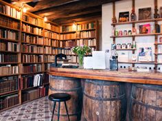 Books and a bar - a room my husband and I could both live in :)
