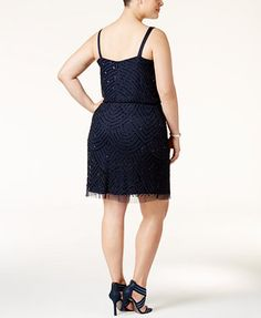 Adrianna Papell Plus Size Embellished A-Line Cocktail Dress | macys.com