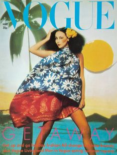 May 1974 vintage fashion style color photo print ad model magazine 70s floral hawaii muu island tiki