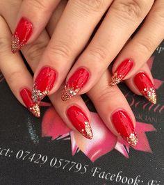 Red & gold nails nail art