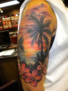 Image result for Beach Scene Tattoos