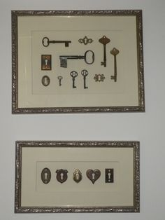 Another cool display idea - old keys and escutcheons, framed.