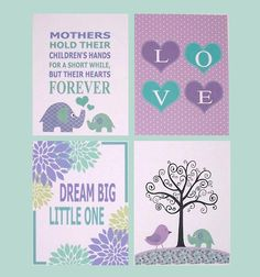 Set of 4 Designs in Purple, Lavender and Aqua/Teal - Kids Wall Art Nursery Decor Baby Room Decor Elephant by vtdesigns, $50.00