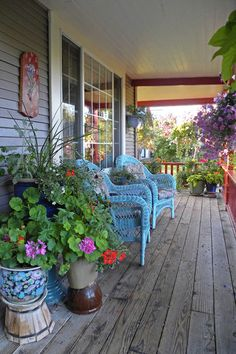 Start a garden on your porch. You can start seedlings in the spring and grow fresh herbs right on your porch — whether in flowerpots, hanging baskets or planters on the railing. This creates an inviting, relaxing space and will help to keep the porch cool and fragrant in summer.