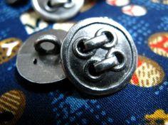 Lot 10 Imitate  4 Hole Design Gunmetal Shank Buttons by Lyanwood, $4.00