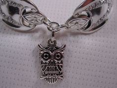 A Spoon Rings Plus Old Colony Spoon Bracelet With Owl Charm Spoon and Fork Jewelry b99. $22.00, via Etsy.