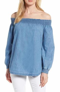 Caslon® Chambray Off the Shoulder Top