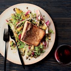 This perfectly cooked salmon fillet is delicious with a tangy lentil, golden beet and endive salad. Get the recipe at Food & Wine.