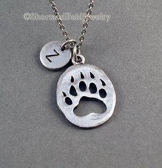 Bear Paw Print Necklace, initial necklace, initial hand stamped, Personalized necklace, antique silver pewter. I would want this with a W.