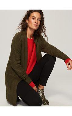 Kardigan z kieszeniami, Swetry, zielony, RESERVED