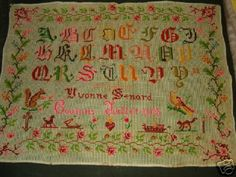 A Pretty French Early 20th Century Sampler Stitched By Yvonne Sendard & Dated 1905